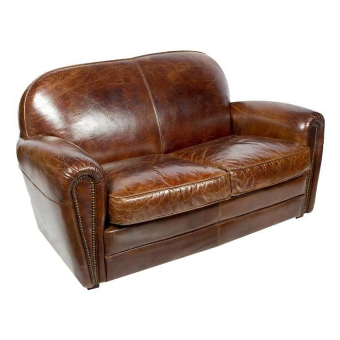 canap club sheffield cuir marron vintage achat vente canap sofa divan cdiscount. Black Bedroom Furniture Sets. Home Design Ideas