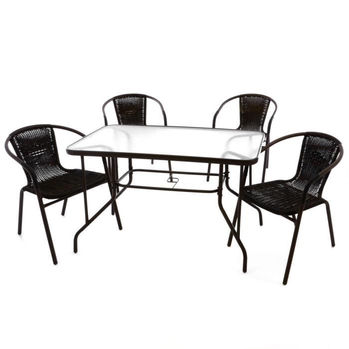 4 chaises bistro empilable table rectangle verre achat for Table verre 6 chaises