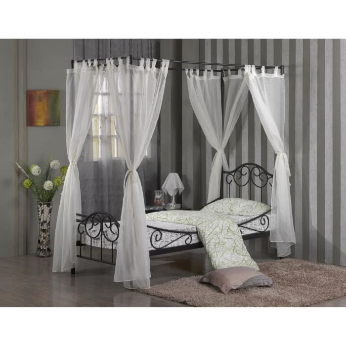 lit enfant m tal baldaquin shelby sommier 90x200 achat. Black Bedroom Furniture Sets. Home Design Ideas