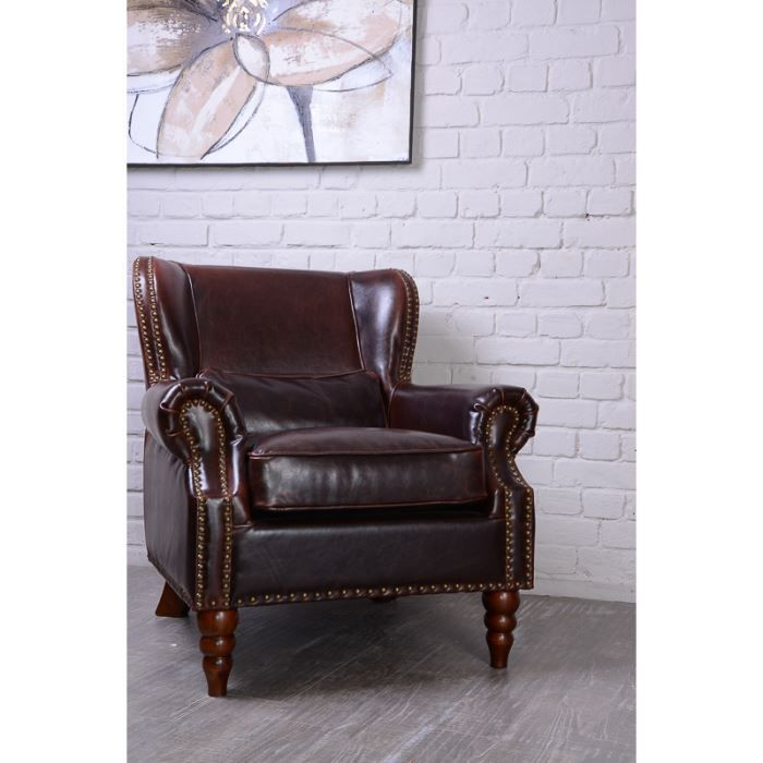 fauteuil club clout cuir 39 vintage 39 achat vente fauteuil cuir cdiscount. Black Bedroom Furniture Sets. Home Design Ideas