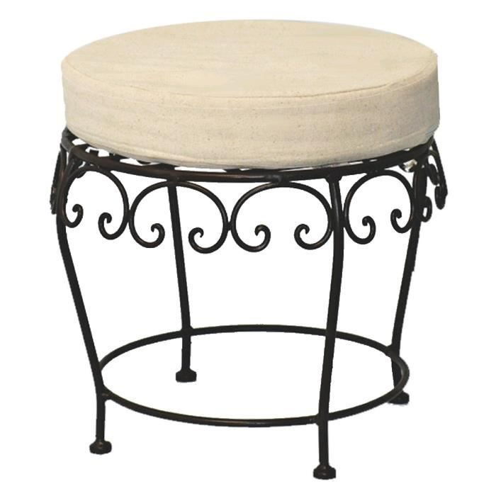 tabouret pouf fer forge charme achat vente tabouret. Black Bedroom Furniture Sets. Home Design Ideas