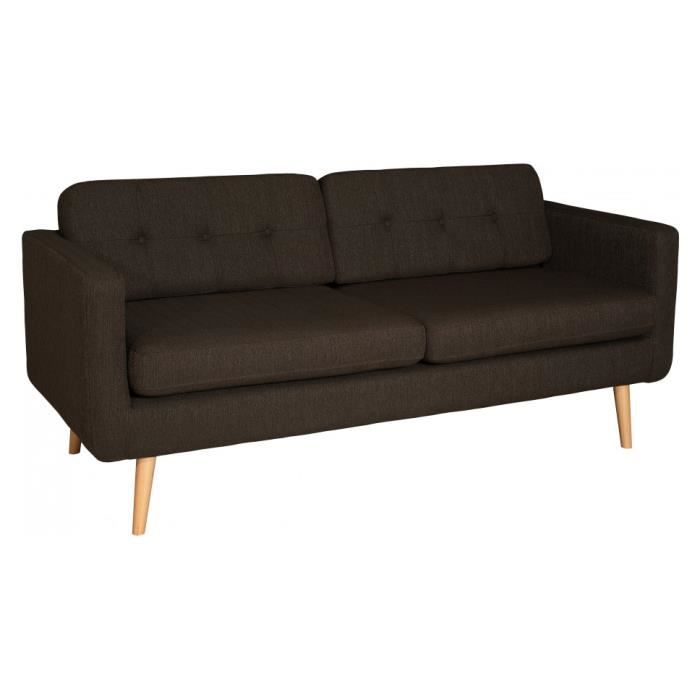 canap vintage 3 places tissu chocolat achat vente canap sofa divan cdiscount. Black Bedroom Furniture Sets. Home Design Ideas
