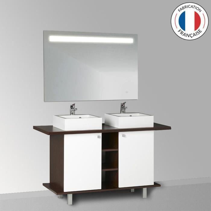 Meuble salle de bain STÉFIA 100-136 double vasque - Blanc - 136 -  Profondeur :55