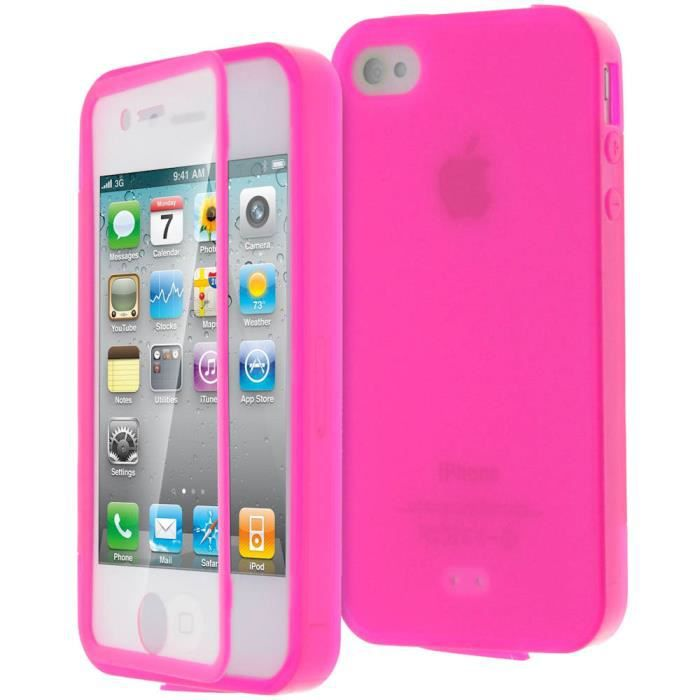 coque gel int grale apple iphone 4 4s rose achat coque. Black Bedroom Furniture Sets. Home Design Ideas
