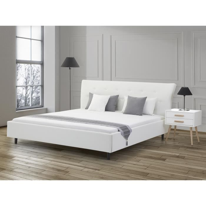 lit design en cuir lit double 160x200 cm blanc. Black Bedroom Furniture Sets. Home Design Ideas
