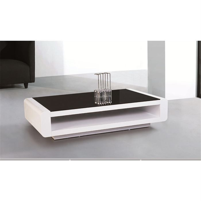 Table basse laqu e blanc et plateau en verre noir achat for Table de salon blanc laque
