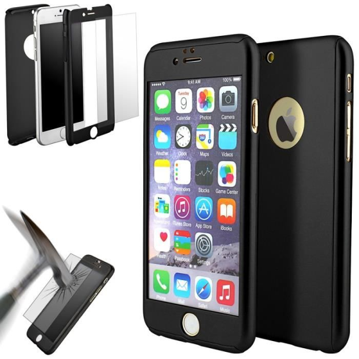 Coque 360° full protection iphone 7 noir
