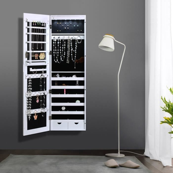 ikayaa armoire suspendu mural cabinet bijoux rangement pour chambre ou dressing avec 6 led. Black Bedroom Furniture Sets. Home Design Ideas