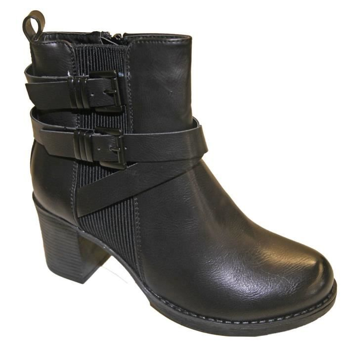 Botte Bottine Femme Talon Carré Similicuir Trip...