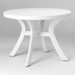 Table ronde blanche o 100 cm bergame achat vente table for Table de jardin ronde en resine blanche