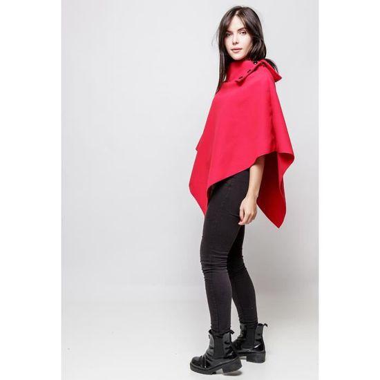 Cape Manteau Poncho Veste Femme Polaire Hiver Rouge Rouge