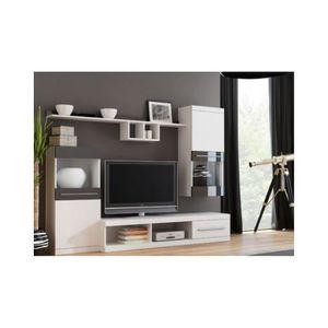 MEUBLE TV Ensemble meuble TV NICKO 220cm - Couleur: Chêne bl