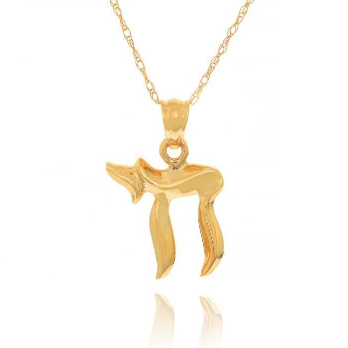 Chaine De Cou Vendue Seule E9I3W Femmes 14k Chai juive solide or jaune Charm Pendentif, 18 pouces délicat chaîne corde