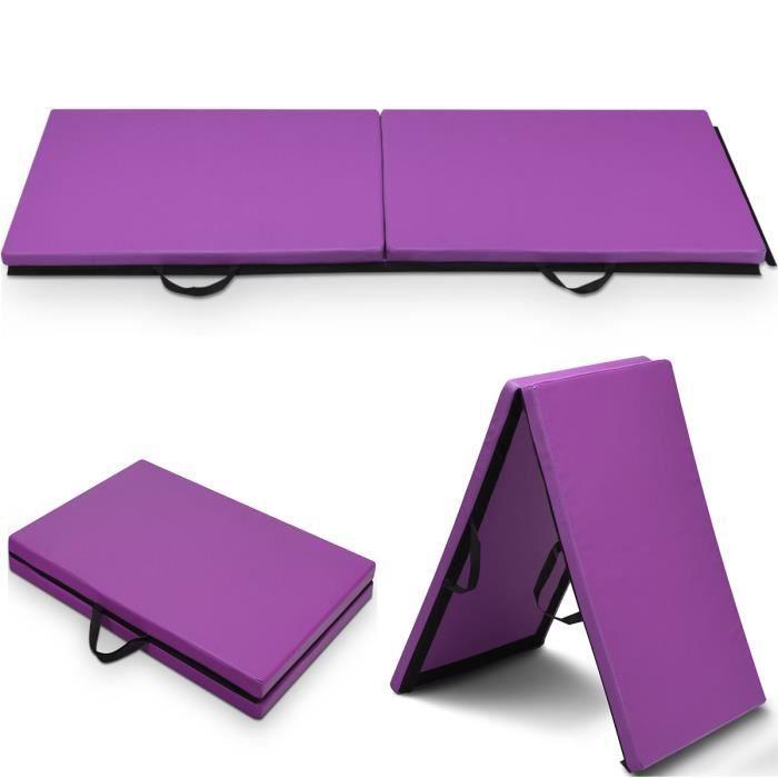 COSTWAY Tapis de Gymnastique Pliable 180x60x3,8CM Matelas de Fitness Portable Natte de Gym pour Fitness, Yoga, Sport et Exercice