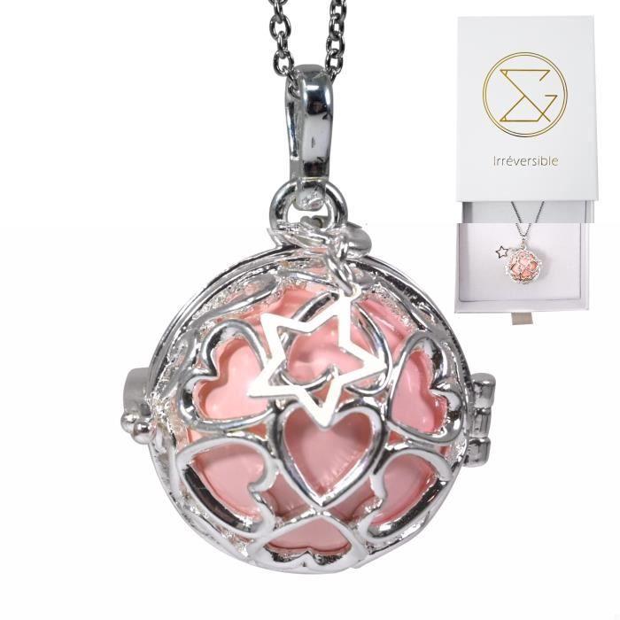 Bola de grossesse cage argent avec chaîne - ADRIANA (Etoile/bille rose) - plaquée argent véritable - coffret cadeau femme enceinte