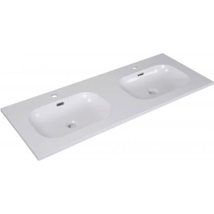 Plan Double Vasque Blanc Résine De Synthèse 120 Cm Enio