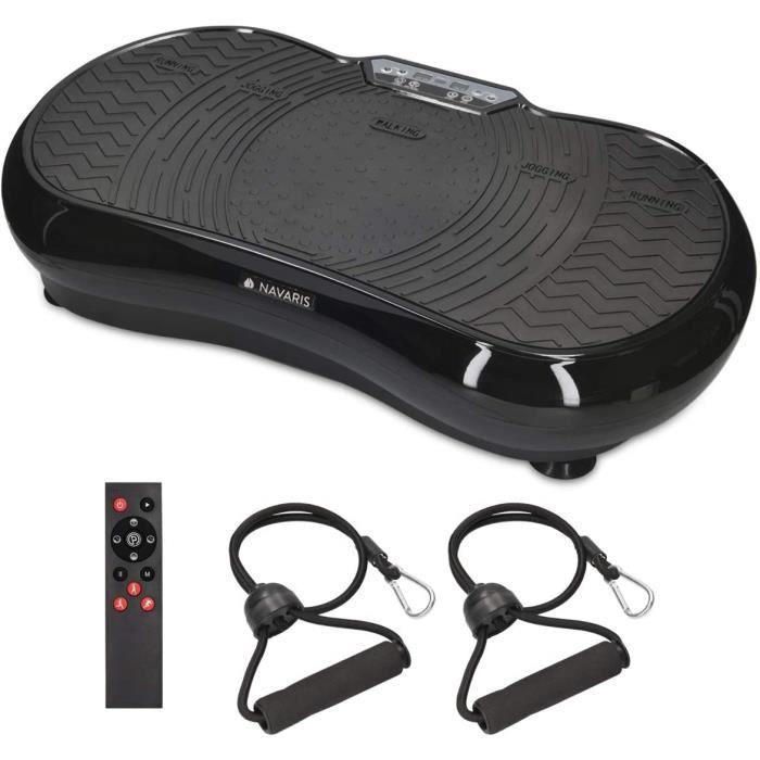 Navaris Plateforme vibrante oscillante - Appareil Shaper avec télécommande et Bande élastique - Entraînement Sport Fitness - 99 Nive