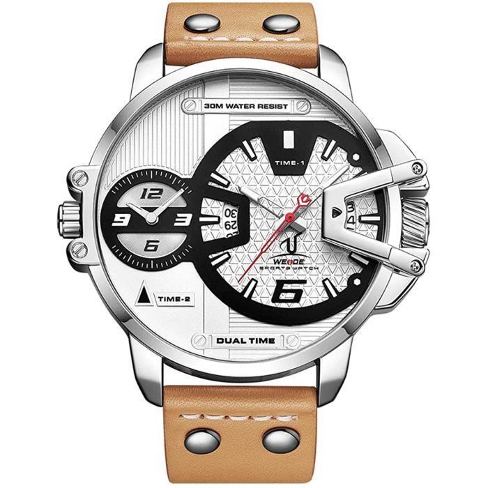 Alienwork Weide Montre Homme XL sur Grand - Couleur:Argent/blanc noir/bracelet cuir brun
