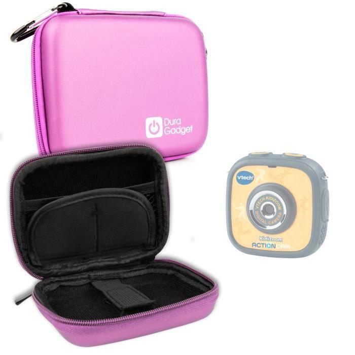 Etui housse rigide rose pour caméra enfant VTech Kidizoom Action Cam - mousqueton amovible