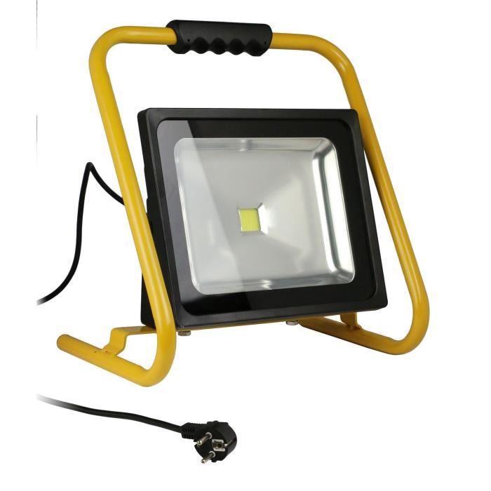 Projecteur de chantier LED 50W portable NFavec câble