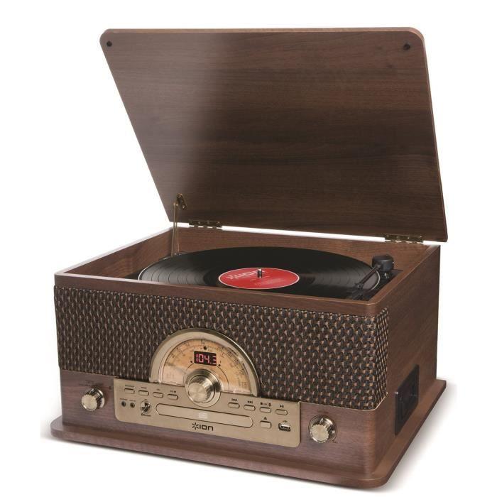 ION Audio Superior LP - Chaîne hi-fi 7-en-1 avec Platine Vinyle 3 Vitesses (33, 45 et 78 tours), Lecteurs CD et Cassette, Radio A
