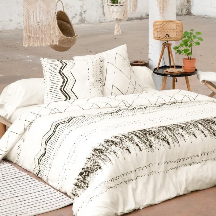 CDaffaires Parure de lit (housse de couette + 2 taies d'oreiller) 200x200 berbere Blanc
