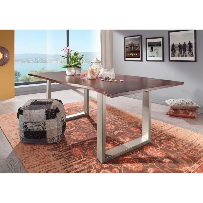 Table à manger 120x90cm - Bois massif d'acacia laqué (Brun/Gris) - Design moderne naturel - FREEFORM 3