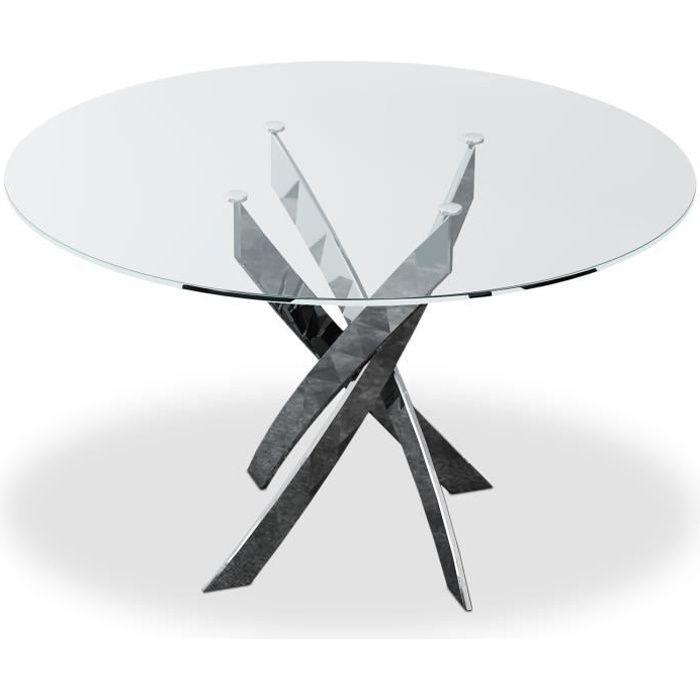 Table ronde en verre Corix pieds Métal
