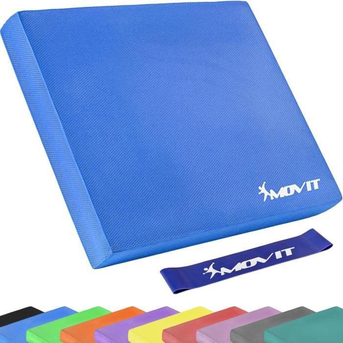 MOVIT Balance Pad Tapis d'entaînement - Coussin d'équilibre bleu avec bande d´entraînement