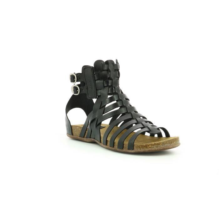 Kickers Sandale Cuir Femme Noir