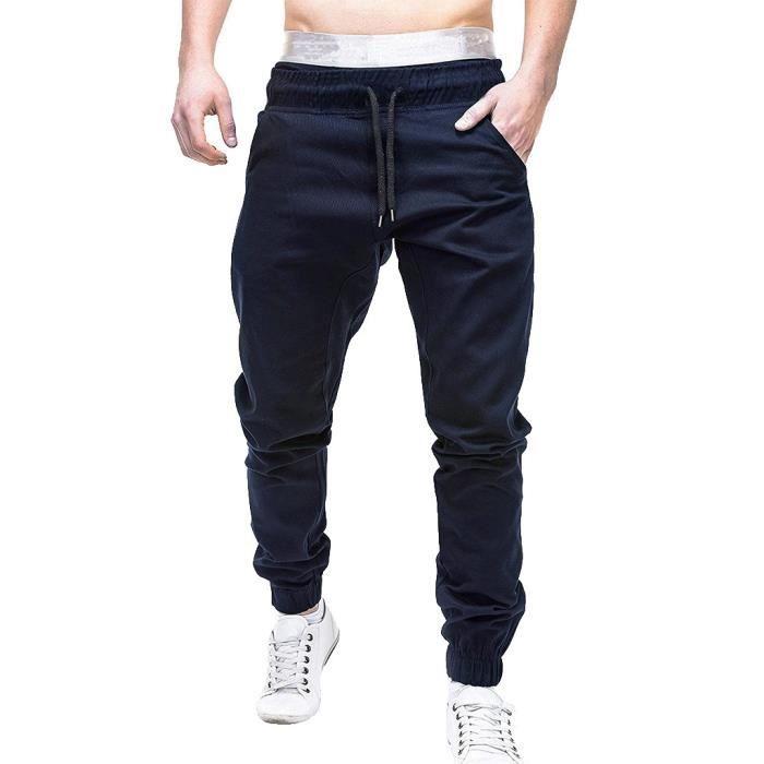 Pantalons de survêtement pour hommes Joggings élastiques décontractés Pantalons de sport solides avec poches amples Bleu PANTS001