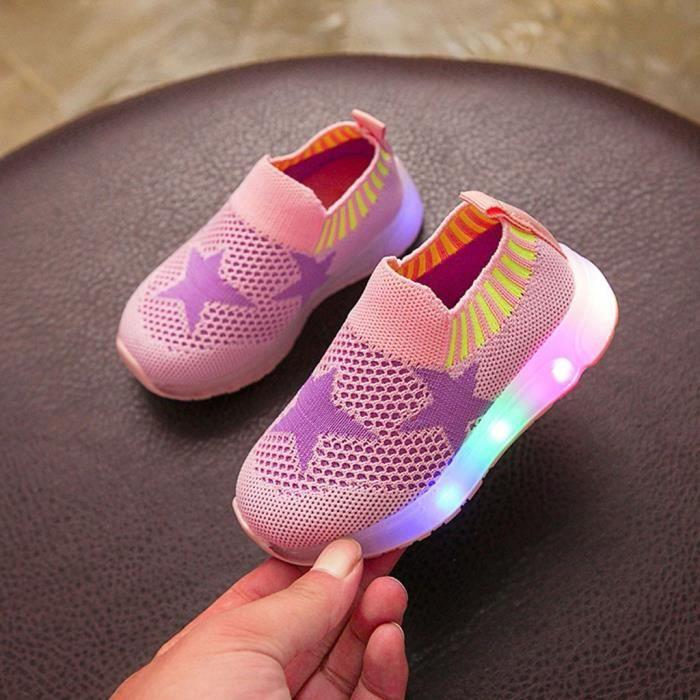 Enfants bébé filles garçons maille étoile Led lumineux Sport course baskets chaussures décontractées - Rose