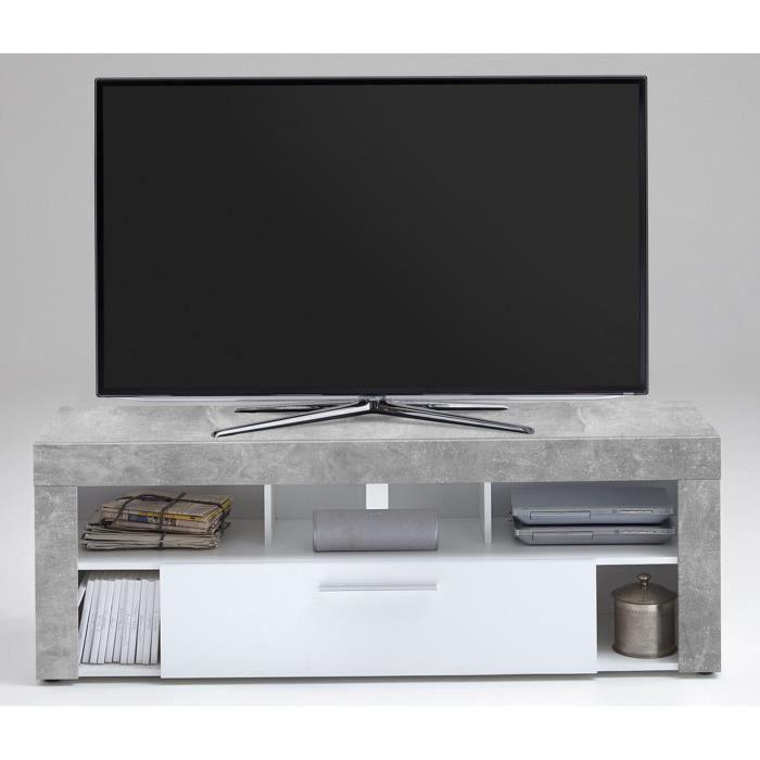 Meuble TV en MDF et panneaux de particules coloris Light Atelier-blanc- Dim : L 150 x H 53 x P 41,5 cm