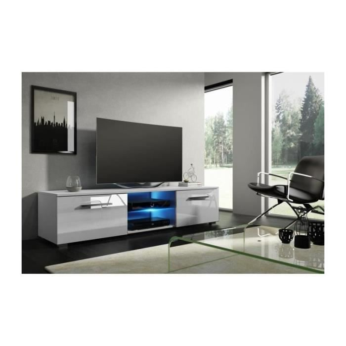 Meuble TV design LEON 140 cm à 2 tiroirs et 2 niches coloris blanc mat et blanc brillant + led: 40 Blanc