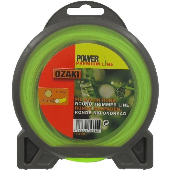 JARDIN PRATIQUE Fil nylon rond premium line OZAKI pour débroussailleuse - Ø 1,6 mm - L 15 m