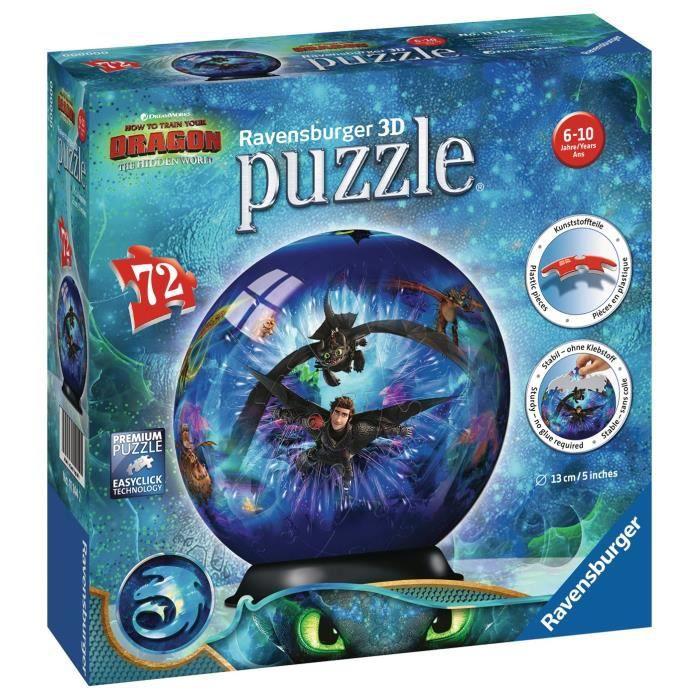 RAVENSBURGER Puzzle 3D rond 72 p - Dragons 3