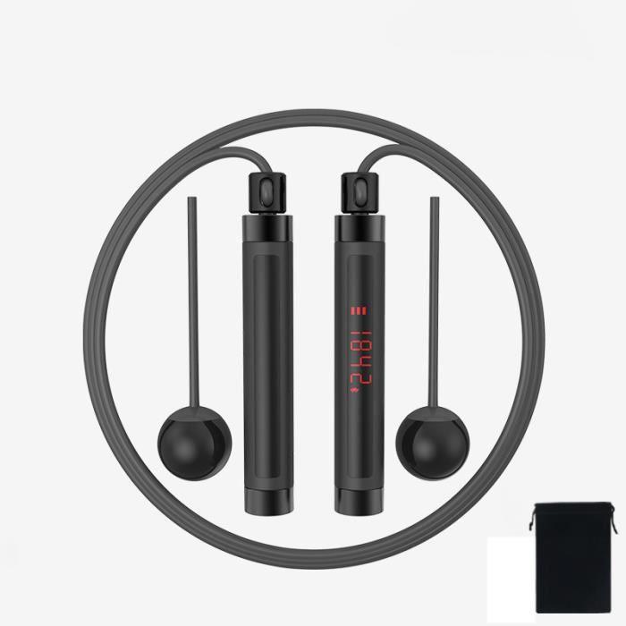 Corde à Sauter Intelligente Bluetooth Corde à Sauter de Vitesse Corde de Comptage NuméRique RéGlable avec Balle pour EntraîNement D