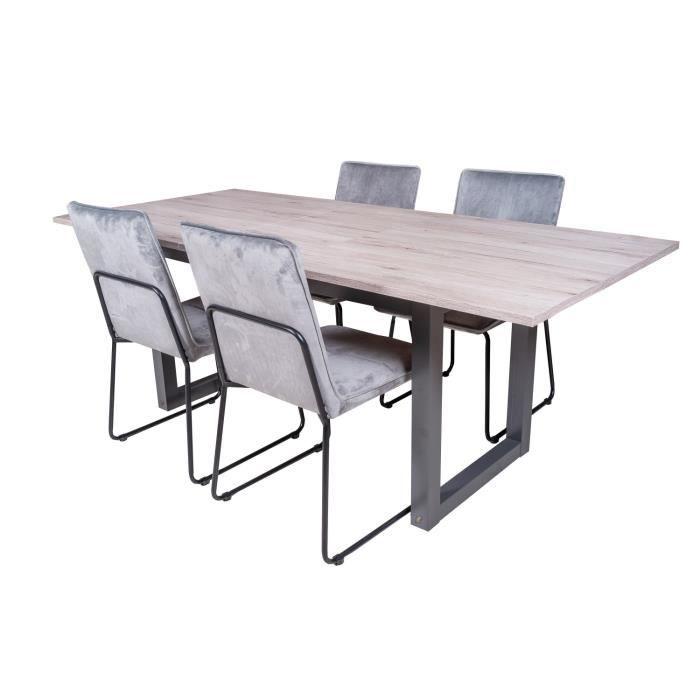 Table extensible brooklyn + 4 chaises melbourne velours gris