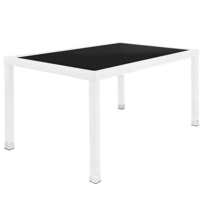 Table de repas Rotin blanc/Verre noir - BAROS - L 160 x l 90 x H 76