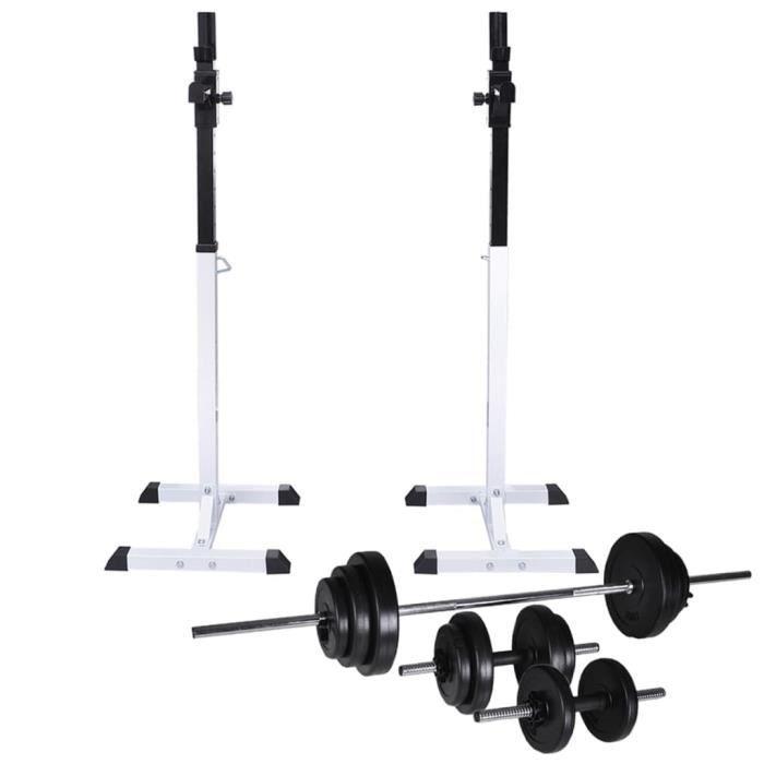 Support d'haltères avec jeu d'haltères - de poids 30,5 kg - Machines d'haltérophilie - supports pour barres - Multicolore -