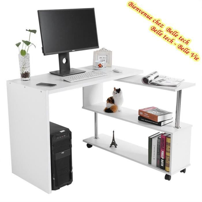 table d 39 angle 360 rotatif bureau informatique en bois multifonction avec tag res de livre blanc. Black Bedroom Furniture Sets. Home Design Ideas