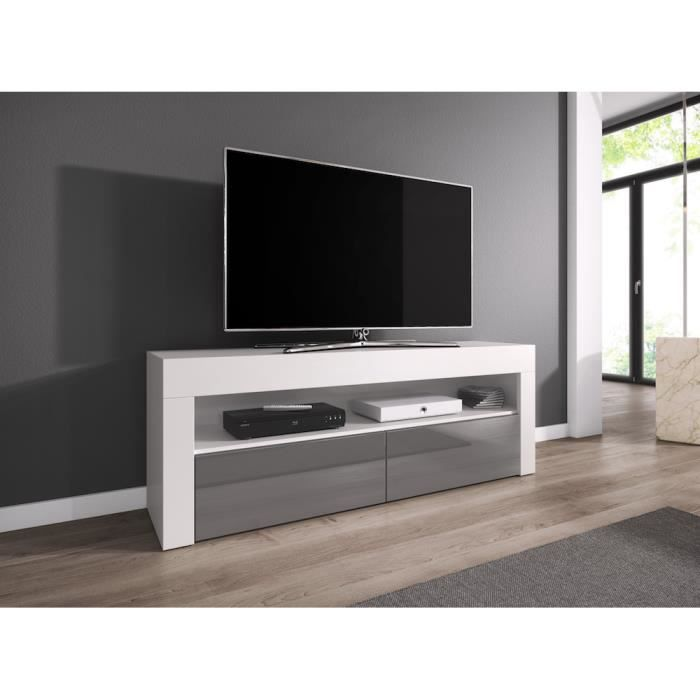 Luna meuble tv contemporain d cor corps blanc fa ade for Meuble tv hauteur 1m