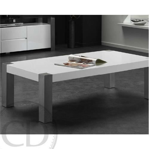 Table basse rectangulaire acier laqu blanc design achat - Table basse rectangulaire design ...
