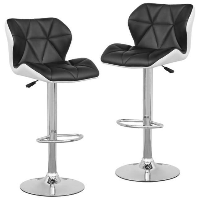lou lot de 2 tabourets de bar noir blanc achat vente. Black Bedroom Furniture Sets. Home Design Ideas