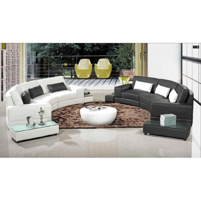 canap d 39 angle arrondi cuir noir elena achat vente canap sofa divan cuir polyur thane. Black Bedroom Furniture Sets. Home Design Ideas