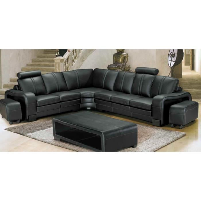canape d 39 angle cuir noir dallas achat vente canap sofa divan cuir cdiscount. Black Bedroom Furniture Sets. Home Design Ideas