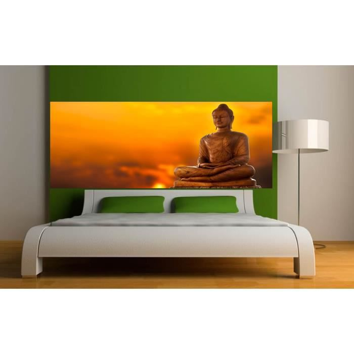 stickers t te de lit d co chambre bouddha dimensions 220x86cm achat vente stickers cdiscount. Black Bedroom Furniture Sets. Home Design Ideas