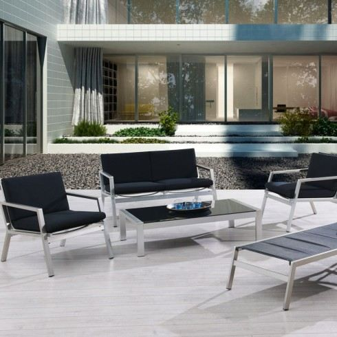 salon de jardin luxe aluminium 4 places manhattan achat. Black Bedroom Furniture Sets. Home Design Ideas