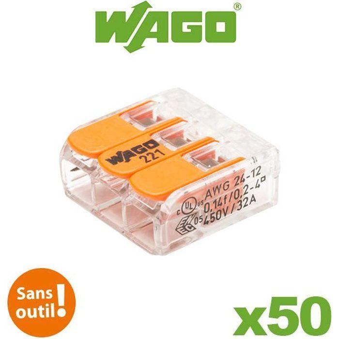 WAGO Pot de 50 bornes de connexion automatique S221 2,3 et 5 entr/ées