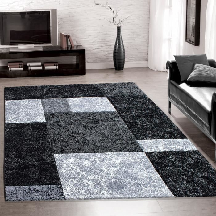 tapis salon design moderne poil court carreaux 3 d contour coup g 1330 200x290 cm achat. Black Bedroom Furniture Sets. Home Design Ideas